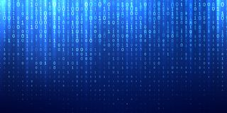 Binary matrix code blue abstract background stock illustration