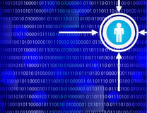 Binary code on blue background. Binary code with icons on blue background using transparency and  gradient effects Stock Image