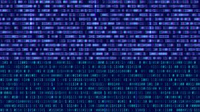 Binary code, blue digits on the computer screen. Figures with th. E effect of the VHS screen of the 80's and 90's. Retro vintage screen. Colored semi-shifted royalty free illustration