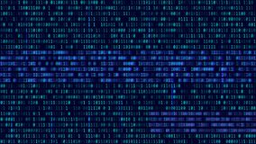 Binary code, blue digits on the computer screen. Figures with th. E effect of the VHS screen of the 80's and 90's. Retro vintage screen. Colored semi-shifted stock illustration