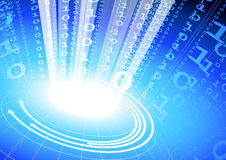 Binary code on blue internet background Stock Photo