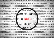 Binary code with BUG and magnifying lens. On white background Royalty Free Stock Photo
