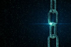 Binary code chain wallpaper. Creative digital binary code chain wallpaper. Blockchain concept. 3D Rendering royalty free stock images