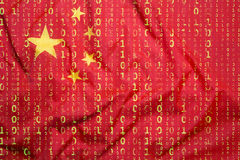 Binary code with China flag, data protection concept Royalty Free Stock Images