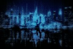 Binary code city background Royalty Free Stock Image