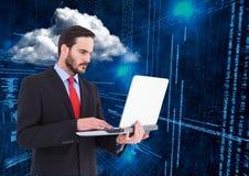 Binary Code Clouds Laptop Man Stock Photography