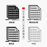 Binary, code, coding, data, document Icon in Thin, Regular, Bold Line and Glyph Style. Vector illustration royalty free illustration