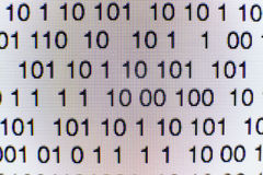 Binary code on a computer screen. Close-up of Binary code on a computer screen Royalty Free Stock Photo