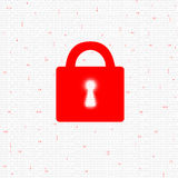 Binary code concept red colored closed padlock Stock Photography