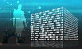 Binary code cube. Binary code concept. Algorithm binary, data code, decryption and encoding, row matrix. Muscular man silhouette vector illustration