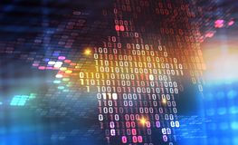Binary code 3D illustration. Digital data protection. Cyberspace information flow stock photo