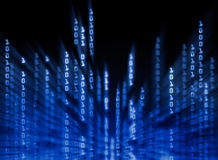 Binary code data flowing on display Stock Photos