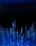 Binary code data flowing on display. Glowing binary code data digits flowing on computer display Royalty Free Stock Photo