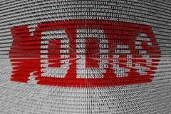 Binary code ddos. Binary code with the text means a ddos attack Royalty Free Stock Images