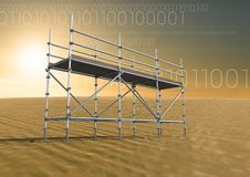 Binary code in desert with 3D Scaffolding. Digital composite of Binary code in desert with 3D Scaffolding Stock Photography