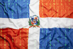 Binary code with Dominican Republic flag, data protection concep Stock Photography