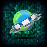 Binary code and Earth with laptops Royalty Free Stock Photo
