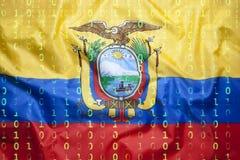 Binary code with Ecuador flag, data protection concept Royalty Free Stock Photos