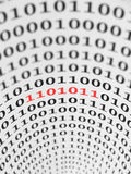 Binary Code Error. Part of a binary code marked in red. Can represent a software bug, virus, spyware, etc Royalty Free Stock Images
