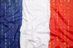 Binary code with France flag, data protection concept Stock Photos
