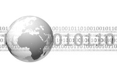 Binary code and globe. 3D rendered image with semi-transparent globe and binary code isolated on white Royalty Free Stock Images