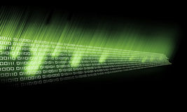 Binary Code Glow. In green and goes to the black Royalty Free Stock Photos