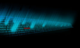 Binary Code glows. And go in the deep Stock Images