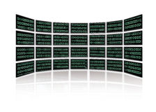 Binary Code glows on tv screens Stock Image