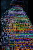 Binary Code Going Out in Cyberspace. Colorful abstract design of virtual reality or cyberspace mixed with binary numbers royalty free illustration