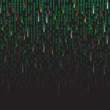 Binary code green and dark background with fireworks, digits on screen. Algorithm binary, data code, decryption and Royalty Free Stock Photo