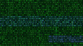 Binary code, green digits on the computer screen. Figures with t. He effect of the VHS screen of the 80's and 90's. Retro vintage screen. Colored semi-shifted stock illustration