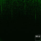 Binary code green neon glow matrix. Vector Royalty Free Stock Images