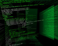 Binary Code in Green on TFT in 3d Stock Photos