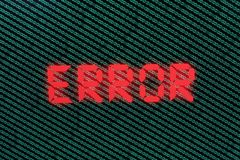 Binary Code in Green on TFT with error in it Royalty Free Stock Photos
