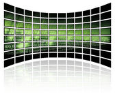 Binary code on grid background. An illustrated background of a curved grid with binary code Stock Image