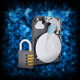 Binary code and HDD with combination lock Stock Photography