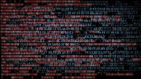 Binary code. Hexadecimal code running up a computer screen. Blue digits.