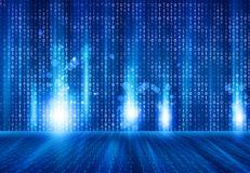 Binary code on hi- tech background. Digital illustration Stock Photo