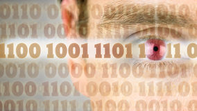 Binary code with human eye Stock Images