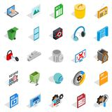Binary code icons set, isometric style. Binary code icons set. Isometric set of 25 binary code vector icons for web  on white background Royalty Free Stock Images