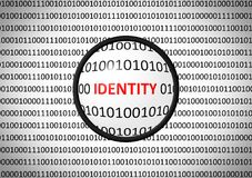 Binary code with IDENTITY and magnifying lens Royalty Free Stock Photography