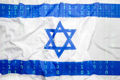 Binary code with Israel flag, data protection concept Royalty Free Stock Photo
