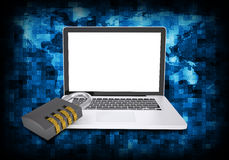Binary code and laptop with combination lock Royalty Free Stock Photography