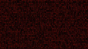 Binary Code Listing. Sheet of red scrolled running binary codes listing black background texture royalty free illustration