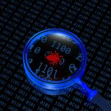 Binary code and loupe. Binary code and magnifying glass Royalty Free Stock Photo