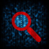 Binary code and magnifier icon Royalty Free Stock Images