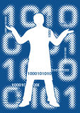 Binary code with male silhouette. Blue abstract grunge  background with computer binary code and male silhouette . Vector illustration Stock Photo