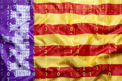 Binary code with Mallorca flag, data protection concept Stock Images