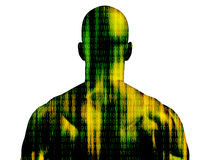 Binary code man. Binary code streaming on mans skin isolated on white Stock Images