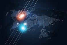 Binary Code Map Dark Blue Background Stock Images